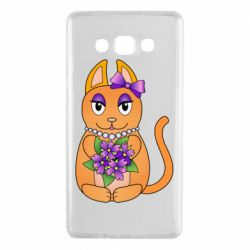 Чехол для Samsung A7 2015 Girl cat with flowers