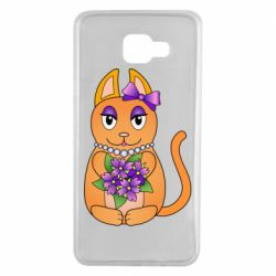 Чехол для Samsung A7 2016 Girl cat with flowers