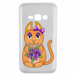 Чехол для Samsung J1 2016 Girl cat with flowers
