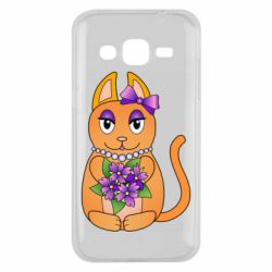 Чехол для Samsung J2 2015 Girl cat with flowers