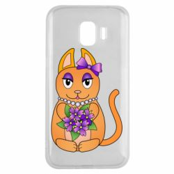 Чехол для Samsung J2 2018 Girl cat with flowers