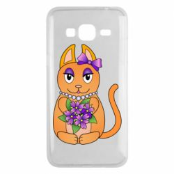 Чехол для Samsung J3 2016 Girl cat with flowers
