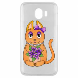 Чехол для Samsung J4 Girl cat with flowers