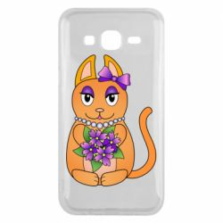 Чехол для Samsung J5 2015 Girl cat with flowers