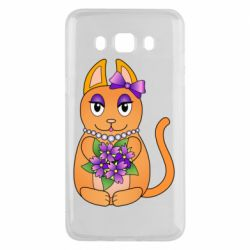 Чехол для Samsung J5 2016 Girl cat with flowers