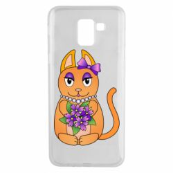 Чехол для Samsung J6 Girl cat with flowers