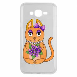 Чехол для Samsung J7 2015 Girl cat with flowers