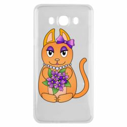 Чехол для Samsung J7 2016 Girl cat with flowers