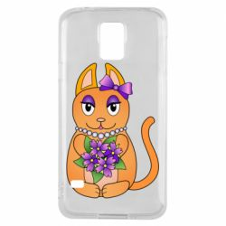 Чехол для Samsung S5 Girl cat with flowers