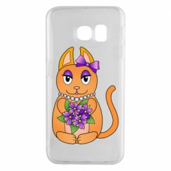 Чехол для Samsung S6 EDGE Girl cat with flowers