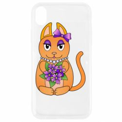 Чехол для iPhone XR Girl cat with flowers