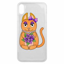 Чехол для iPhone Xs Max Girl cat with flowers