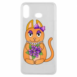 Чехол для Samsung A6s Girl cat with flowers