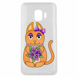 Чехол для Samsung J2 Core Girl cat with flowers