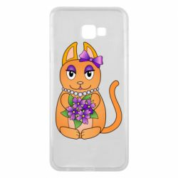 Чехол для Samsung J4 Plus 2018 Girl cat with flowers