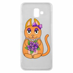 Чехол для Samsung J6 Plus 2018 Girl cat with flowers