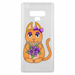 Чехол для Samsung Note 9 Girl cat with flowers
