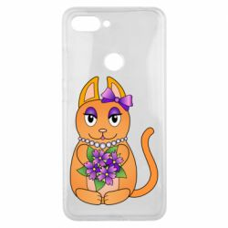 Чехол для Xiaomi Mi8 Lite Girl cat with flowers