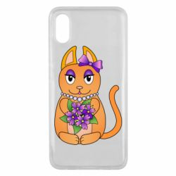 Чехол для Xiaomi Mi8 Pro Girl cat with flowers