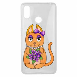 Чехол для Xiaomi Mi Max 3 Girl cat with flowers