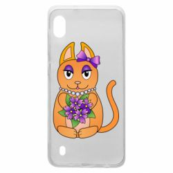 Чехол для Samsung A10 Girl cat with flowers