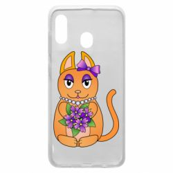 Чехол для Samsung A20 Girl cat with flowers