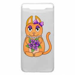 Чехол для Samsung A80 Girl cat with flowers