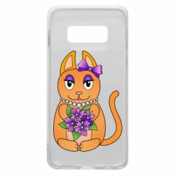 Чехол для Samsung S10e Girl cat with flowers