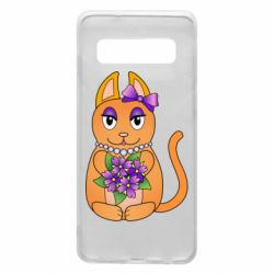 Чехол для Samsung S10 Girl cat with flowers
