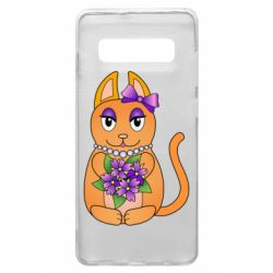 Чехол для Samsung S10+ Girl cat with flowers