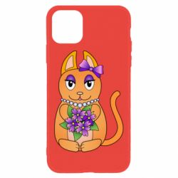 Чехол для iPhone 11 Girl cat with flowers