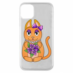 Чехол для iPhone 11 Pro Girl cat with flowers