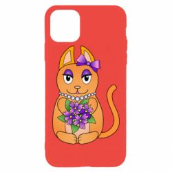 Чехол для iPhone 11 Pro Max Girl cat with flowers
