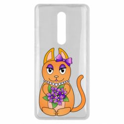 Чехол для Xiaomi Mi9T Girl cat with flowers