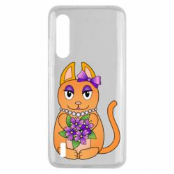 Чехол для Xiaomi Mi9 Lite Girl cat with flowers