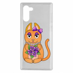 Чехол для Samsung Note 10 Girl cat with flowers