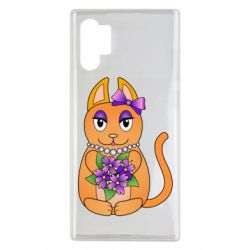 Чехол для Samsung Note 10 Plus Girl cat with flowers