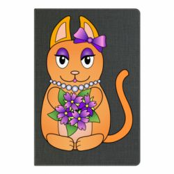 Блокнот А5 Girl cat with flowers