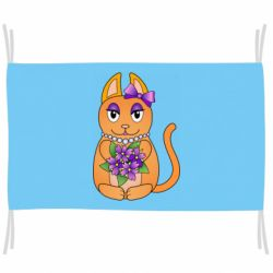 Прапор Girl cat with flowers