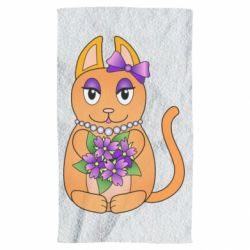 Полотенце Girl cat with flowers