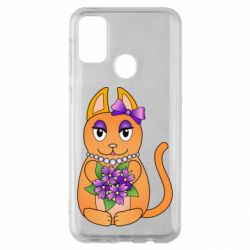 Чехол для Samsung M30s Girl cat with flowers