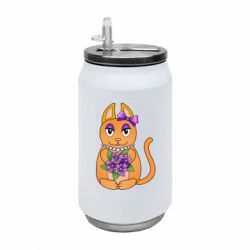 Термобанка 350ml Girl cat with flowers