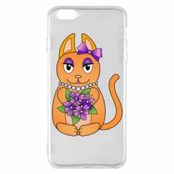 Чехол для iPhone 6 Plus/6S Plus Girl cat with flowers