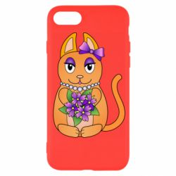 Чехол для iPhone 7 Girl cat with flowers