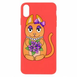 Чехол для iPhone X/Xs Girl cat with flowers