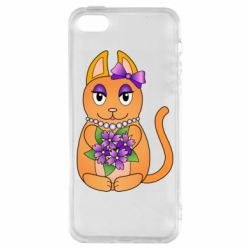 Чехол для iPhone5/5S/SE Girl cat with flowers