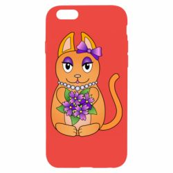 Чехол для iPhone 6/6S Girl cat with flowers
