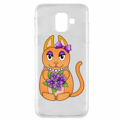 Чехол для Samsung A6 2018 Girl cat with flowers