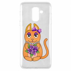 Чехол для Samsung A6+ 2018 Girl cat with flowers