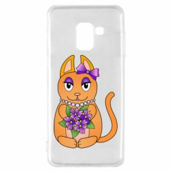 Чехол для Samsung A8 2018 Girl cat with flowers
